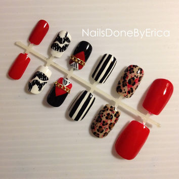 Customized Press On Nails, Artificial nails, False nails, Hand painted, Fake nails