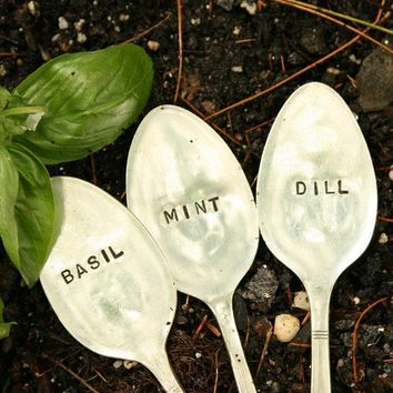 Antique Silverware Garden Markers  Set of 3  by BeachHouseLiving