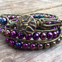 Handcrafted #OOAK Leather triple wrap bracelet in distressed green with Czech Purple Iris beads! Stackable!