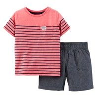 Carter's Stripe Tee & Chambray Shorts Set - Toddler Boy