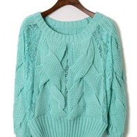 Lace Sleeves Cable Knit Sweater in Mint - New Arrivals - Retro, Indie and Unique Fashion