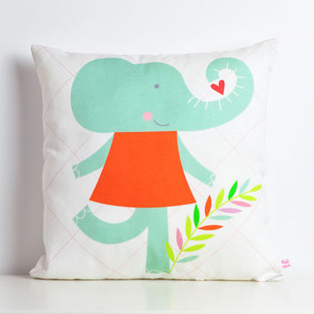 decorative throw pillow for kids room with miss Elephant in mint, white and carrot - 12 inch / 30 cm