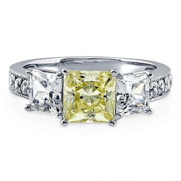 A Perfect 1.7CT Princess Cut Canary Yellow Fancy Russian Lab Diamond Engagement Journey Ring