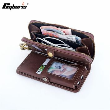Cyboris PU Leather Phone Case Men Wallet Pocket Luxury Mobile Phone Cover Wallets Zipper Coin Purse Phone Bags For iphone 7 6
