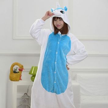 Funny Pajamas Adults Sloth Onesuits Flannel Kigurumi Blue Unicorn One-Piece Sleepwear Cute Winter Home Jumpsuit