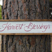 """Joyful Island Creations """"Harvest Blessings"""" wood sign, fall signs, fall decor, thanksgiving signs, thanksgiving decor, reclaimed wood signs"""