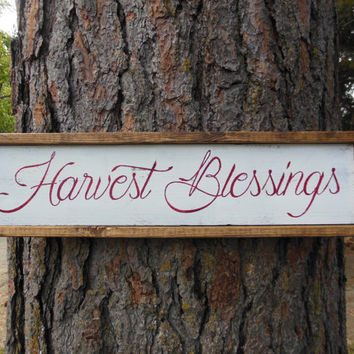 "Joyful Island Creations ""Harvest Blessings"" wood sign, fall signs, fall decor, thanksgiving signs, thanksgiving decor, reclaimed wood signs"