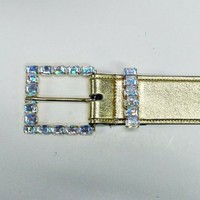 Ladies' Fashion Square Shaped Jewel Buckle on Gold Leatherette Belt Strap (As...
