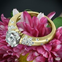 "18k Yellow Gold with Platinum Head ""Champagne U-Prong Domed Pave"" Diamond Engagement Ring"