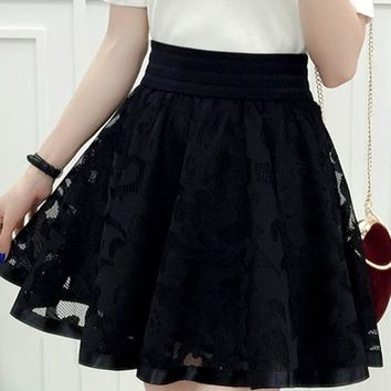Black Floral Grenadine Pleated Tutu Sweet Cute Going out Skirt
