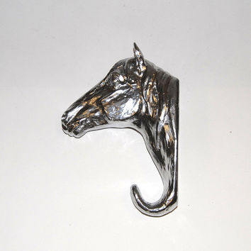 White Faux Taxidermy - Chrome Resin Horse Head Wall Hanging Hook - Chic and Trendy Home Decor