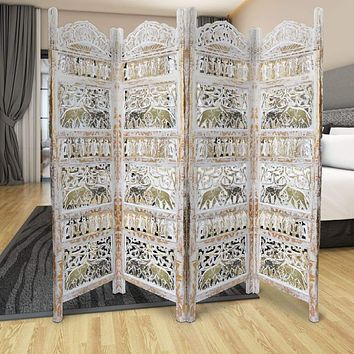 Classic 4 Panel Mango Wood Room Divider with Elephant Carvings, Gold and White