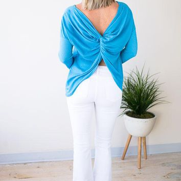 Not So Basic Twist Back Top - Blue