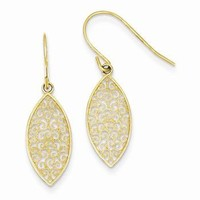 14k Yellow Gold Fancy Filigree Teardrop Dangle Earrings