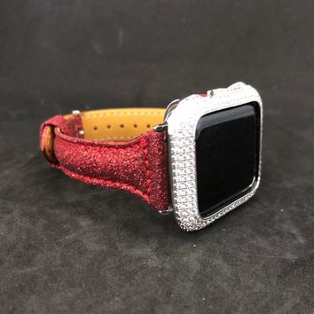 Apple Watch Leather Band 38mm/40mm 42mm/44mm Red Sparkle Slim Skinny Womens Series 1 2 3 4/Iced Out Bezel Case Cover Lab Diamonds Iwatch
