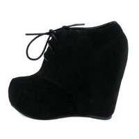 Lace up Platform Wedge Bootie (6.5, black)