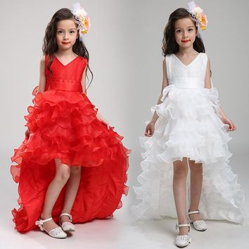 2017 New kids girl party dress girl trailing dress ball gown dress with bow-knot Girls Wedding Dress LS003TW