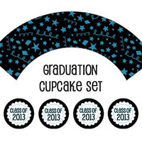 Instant Download - Graduation Cupcake Wrappers and Toppers