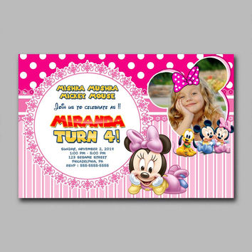 Mickey & Minnie Mouse Pink Baby Photo Kids Birthday Invitation Party Design