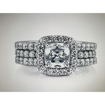 1.5CT Cushion Cut Russian Lab Diamond Bridal Set Wedding Band Ring