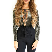 Velveteen Norway Olive Deep V Lace Up Bodysuit