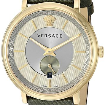 Versace Men's 'THE MANIFESTO EDITION' Quartz Stainless Steel and Leather Casual Watch, Color:Green (Model: VBQ030017)