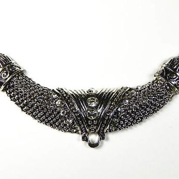 1 Pc - 110x28x9mm Large Tibetan Silver Tube Connector Pendant With Rhinestones - Links - Focal Beads - Jewelry Supplies
