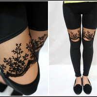 Sandysshop — Lace Ankle Leggings