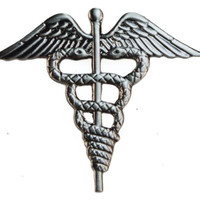 Medical Caduceus Hospital Corpsman MD Doctor EMT Paramedic hat or lapel pin