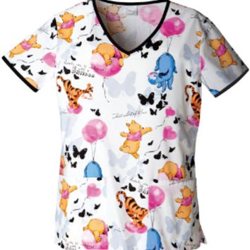 Winnie The Pooh Scrub Top For Women - Up In The Air