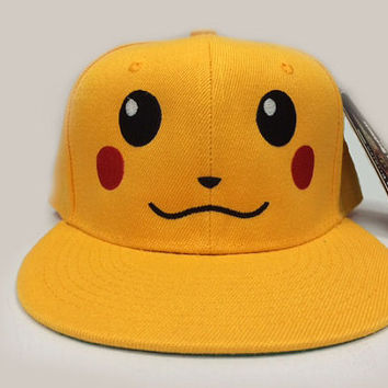 Pikachu Pokemon Face Embroidered on a hat with Custom text option on the back