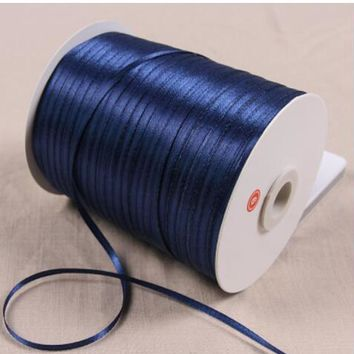 3mm 50Yards Navy Blue Satin Ribbon For Arts Crafts & Sewing Christmas Wedding Party Decoration Gift Wrap Handmade DIY Material