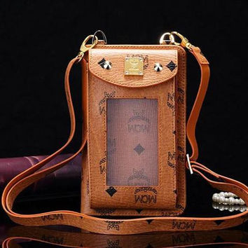 Hotselling luxury Gorgeous multi-function universal window wallet case bag pouch with shoulder strap for iPhone 6 Plus S7 Edge cell phone