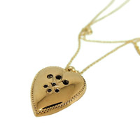 Art Nouveau Puffed Heart Pendant 14k Gold Antique