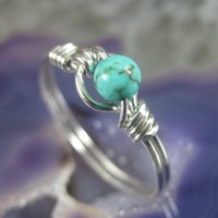 Wire Wrapped Ring Turquoise and Sterling Silver by holmescraft
