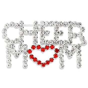 Silver Tone Pave Clear amp Red Crystal Love Heart Cheer Mom Pin Brooch