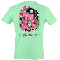Simply Southern Preppy Collection Giraffe T-shirt for Women in Mint Julep PRPGIRAFFE-JULIP