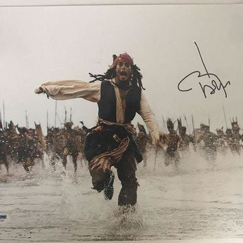 DCCKJNG Johnny Depp Signed Autographed 'Pirates of the Caribbean' Glossy 11x14 Photo (PSA/DNA COA)