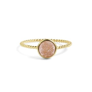 Tiny Champagne Pink Druzy Stacking Ring