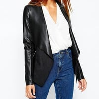 Warehouse Zip Detail Waterfall Drape Jacket at asos.com
