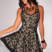 Black Lace Strappy Sheath A-Line Pleated Mini Dress
