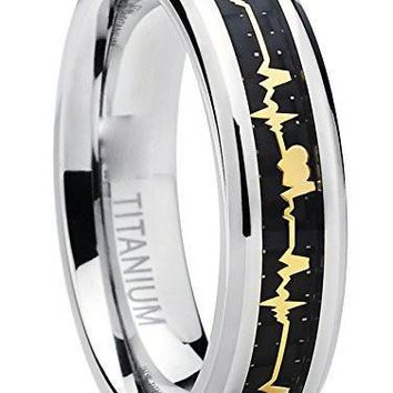 Men's Women's Titanium Heartbeat Ring Wedding Band with Carbon Fiber Inlay, Forever Love ring