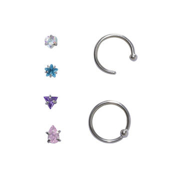 Steel Faceted Multi-Color CZ Shaped Nose Jewelry 6 Pack