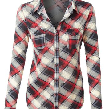 Day-First™ LE3NO Womens Lightweight Plaid Button Down Shirt with Roll Up Sleeves (CLEARANCE)