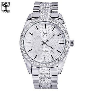 Jewelry Kay style Men's Luxury Iced Out CZ Fashion Stainless Steel Heavy Metal Band Watch 7794 S