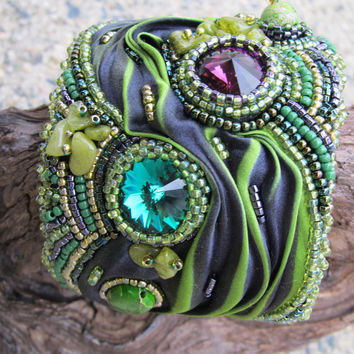 Cuff Beaded Shibori Silk Swarovski Crystal Jasper in greens and purple