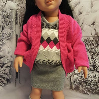 "18 inch doll clothes ""Raspberry Shadows"" 18 inch doll outfit winter ensemble OOAK Hot pink & gray 123 Mulberry St Pattern B3"