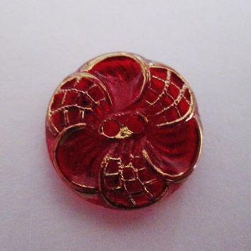 Two Vintage Red Glass Flower Buttons with Gold Luster Trim 3/4 inch