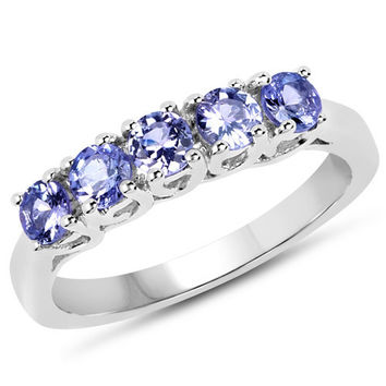 0.95 Carat Genuine Tanzanite .925 Sterling Silver Ring