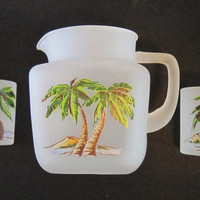 SALE! TropicaL Frosted GLass PaLm Trees Pitcher & Glasses ~ Summer CocktaiL Lemonade BaLmy Retro Beach Tiki Drink